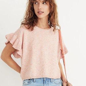 Madewell Ruffle-Sleeve Short Sleeve Sweater Top